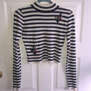 Zara Striped Crop Sweater sz S with Rhinestones